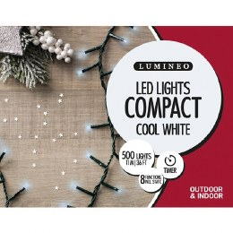 500 Twinkle Compact Cool White Christmas Lights with Green Cable 11m