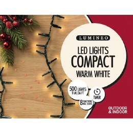 500 Twinkle Compact Warm White Christmas Lights with Green Cable 11m