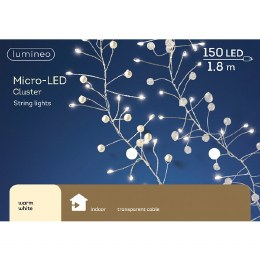 150 Micro LED Cluster Cool White Chirstmas Lights on Clear Cable 180cm