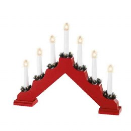Christmas Wooden Candlebridge Red 6x40x30cm