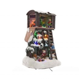 Christmas LED Tree House with Santa Scene 20x17x30cm