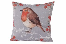 Christmas Cushion with Robin Grey 35x35cm