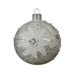 Christmas Bauble Edelweiss Matt with Silver Cap and Ribbon 8cm