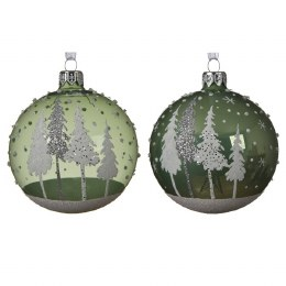 Christmas Bauble Sage Green with Silver Cap and Ribbon 8cm