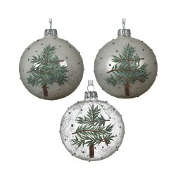 Christmas Bauble Transparent With branch Tree Theme Silver Cap Including Ribbon 8cm