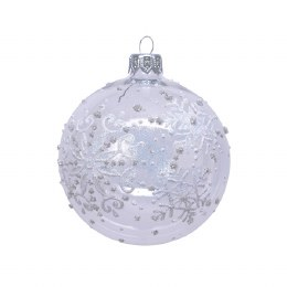 Christmas Bauble Snowflakes with Silver Cap and Ribbon 8cm
