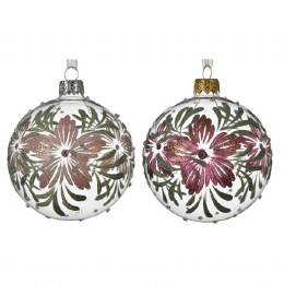 Christmas Bauble Blush Pink or Oxblood Flower with Silver Cap and Ribbon 8cm