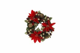 Christmas Candle Ring Holder Poinsettia 18cm