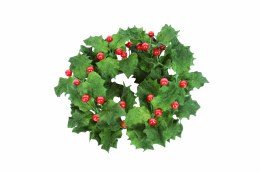 Christmas Candle Ring Holder Velvet Holly 16x16cm