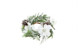Christmas Candle Ring Holder Snowy White Flower with Fir & Leaf 20cm