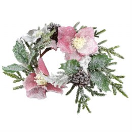 Christmas Candle Ring Holder Snowy Fir & PInk Hellebore 31cm