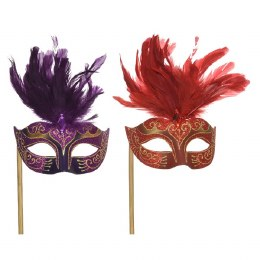 Venetian Face Mask Red or Purple with Feathers, Diamond and Handle 17 x 48 x 12cm