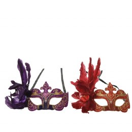 Venetian Face Mask Red or Purple with Feathers and Flower 20 x 20 x 10cm