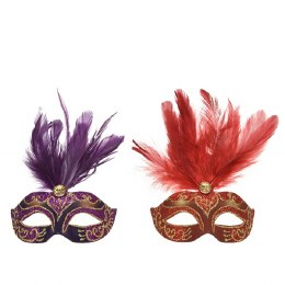 Venetian Face Mask Red or Purple with Feathers and Diamond 10 x 13 x 6cm