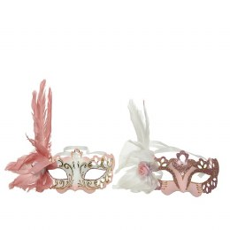 Venetian Face Mask Pink or White with Feathers and Flower 20 x 20 x 10cm