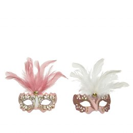 Venetian Face Mask Pink or White with Feathers and Diamond 10 x 13 x 6cm