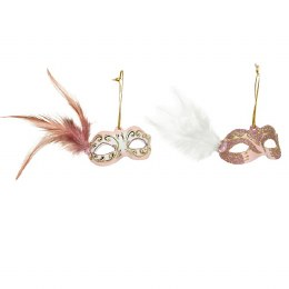 Christmas Decoration Venetian Face Mask Pink or White with Feathers and Diamond 6 x 8 x 3cm
