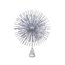 Christmas Tree Topper Silver with Glitter 28cm