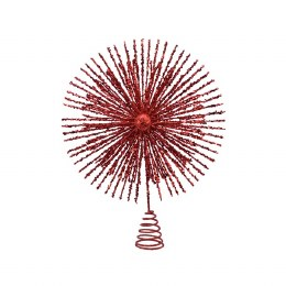 Christmas Tree Topper Red with Glitter