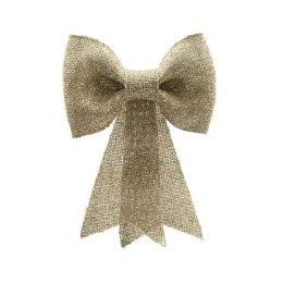 Christmas Bow Gold with Glitter 23 x 31cm