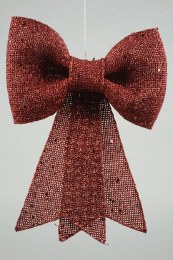 Christmas Bow Red with Glitter 12x14cm