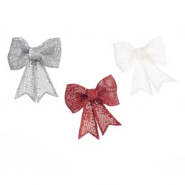 Christmas Bow Silver Red or White 11.5x13cm