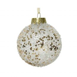 Christmas Bauble Shatterproof Transparent with Champagne Glitter and Gold Organza Ribbon 8cm