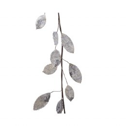 Christmas Garland Round Leaf With Glitter and White Beads 120cm