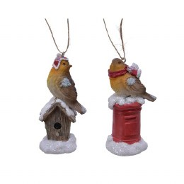 Christmas Bird With Hanger 10cm