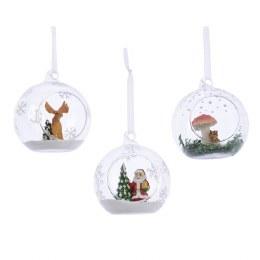 Christmas Bauble Winter Scene Santa - Moose - Squirrel 9cm