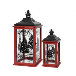Christmas Lantern Firwood with Tree Design