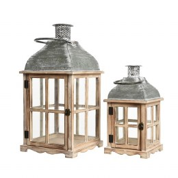 Christmas Firwood Lantern With Zinc Roof - Small 20 x 20 x 39cm