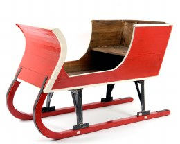 Santa Sleigh Hand-Made From Pine Wood Red Large 220cm x 90cm x 110cm
