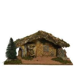 Christmas Nativity Crib With Moss, Bark & Straw 58x23x25cm