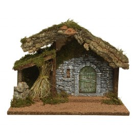 Christmas Nativity Crib with Moss, Bark & Straw 37x17x27cm