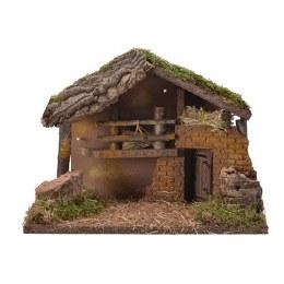 Christmas Nativity Crib with Moss, Bark & Straw 30x17x27cm