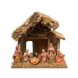 Christmas Nativity Crib With  Moss, Bark and Straw with 8 Figures 27x17x26cm