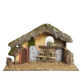 Christmas Nativity Crib with Moss, Bark & Straw 50x23x31cm