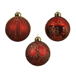Christmas bauble Red With Gold Floral Patterns with Gold Cap and Organza Ribbon 8cm