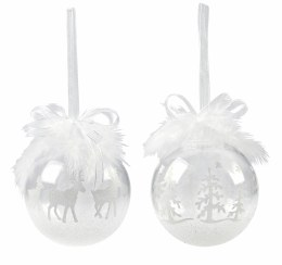 Christmas Bauble Clear white with Reindeer or Forest with Feathers 8.5cm