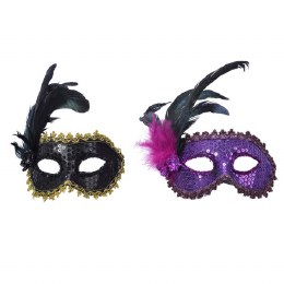 Venetian Face Mask Pink or Black with Feathers and Sequins 8 x 25 x 24cm