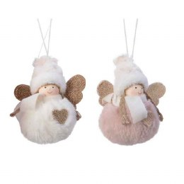 Christmas Decoration Girl With Faux Fur 11cm