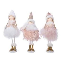 Christmas Plush Girl in Pink Dress 21cm
