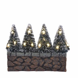 Luville Evergreen Bristle Treen on Stone Wall with Lights 2.5cm x 10cm x 7.5cm