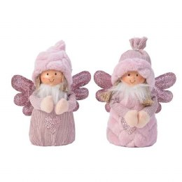 Christmas Plush Angel in Pink with Glitter Wings 15 x 9 x 18cm