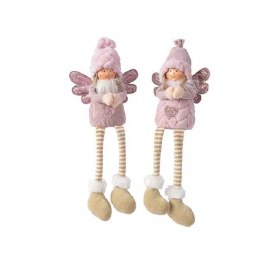 Christmas Plush Angel in Pink with Wings & Dangling Legs 15 x 9 x 39cm