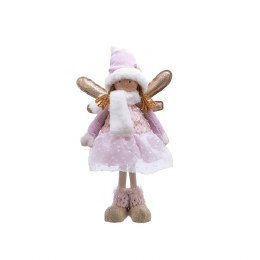 Christmas Plush Angel in Pink with Wings 23 x 13 x 40cm