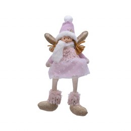 Christmas Plush Angel in Pink with Wings &  Dangling Legs 15 x 8 x 35cm