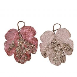 Christmas Decoration Leaf Spray With Glitter 16cm
