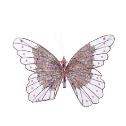 Christmas Decoration Butterfly on Clip Lilac with Beads and Stars 30cm